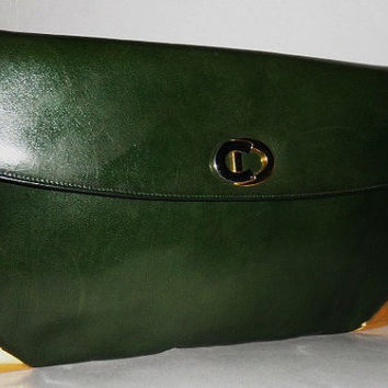 Authentic Christian Dior Vintage Green C D Emblem Lg Clutch 2 Way Bag