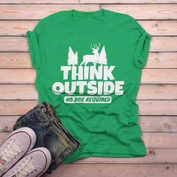 Men's Think Outside T Shirt Funny Camping Shirts No Box Required Deer Tee Explore