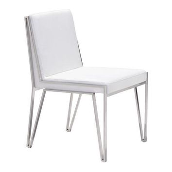 Kylo Dining Chair White Stainless Steel (Set of 2)