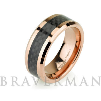 Rose Gold Wedding Band 14K Mens Tungsten Carbide Wedding Ring 8mm Custom 3-16 Half Sizes Black Carbon Fiber Comfort Fit Polish Beveled