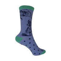 Bamboo Cheshire Cat Crew Socks in Hyacinth Blue