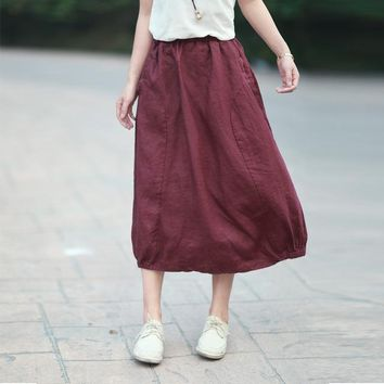 Vintage Retro Harajuku Ethnic Boho Jupe Longue Roupas Femininas Loose Elastic Waist Cotton Linen Women Spring Autumn Long Skirt