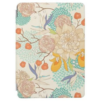 Modern Rose Peony Flower Pattern iPad Air Cover
