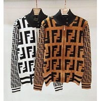 FENDI Classic Autumn Winter Popular Women Personality Mohair F Jacquard Half High Collar Zipper Cardigan Jacket Coat I12895-1