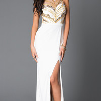 Long Beaded High Neck Sweetheart Prom Dress With Slit