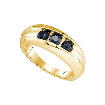 10kt Yellow Gold Mens Round Black Colored Diamond Band Wedding Anniversary Ring 7/8 Cttw