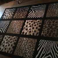 X-Large Area Rug  with leopard/zebra/cheetah print 8ft x 10ft Free Shipping