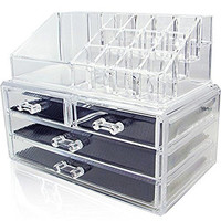 Acrylic Makeup Organizer,Cosmetic Display Box Makeup Brush and Lipstick Holder By Crystal Acrylics