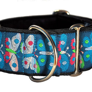Martingale Collar: Butterfly Jacquard - 2 Inch, Greyhound Collar, Martingale Dog Collar, Custom Dog Collar, Whippet Collar