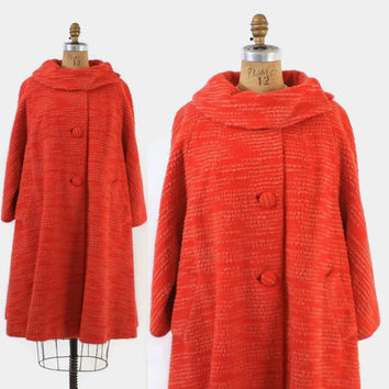 Vintage 60s LILLI ANN COAT / 1960s Bright Red Striped Mod Wool Winter Swing Coat M - L