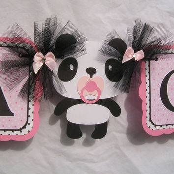 Panda baby shower banner, its a girl banner, pink, black and white, READY TO SHIP
