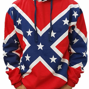 Confederate Flag Hoodie Pull Over Sweater