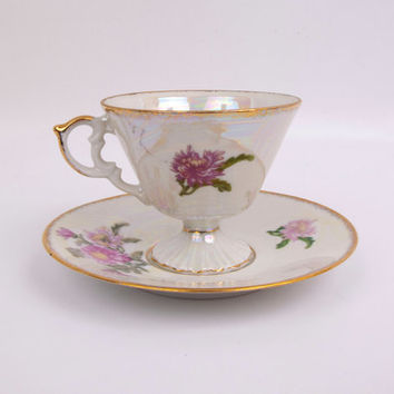 Vintage Chrysanthemum Teacup Saucer November Flower Iridescent Lusterware Footed Tea Cup NORLEANS Japan Floral Tea Party