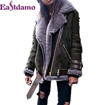 Eastdamo Lambswool Suede Coats Winter Jacket for Women Thick Warm Lambs Motorcycle Fleece Faux Lambskin Female Jacket Plus Size
