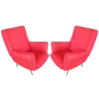 Sleek Pair of Chairs In the style of Gio Ponti