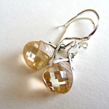 Golden Champagne Earrings, Swarovski Crystal Briolettes, Sterling Silver, Crystal Earrings, Light Gold, Bridesmaid Jewelry