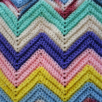 Vintage Knitted Chevron Zig Zag Blanket in Yellow, Purple, Light Blue, Pink and Tiffany Blue, Burgundy