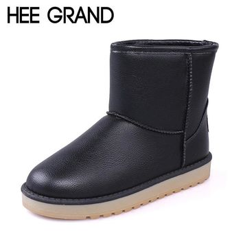 HEE GRAND PU Leather Waterproof Women Boots Solid Ankle Boots Warm Winter Snow Boots S