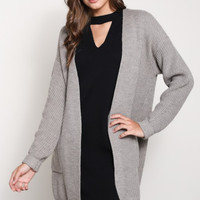 Pocketed Oversized Open Cardigan