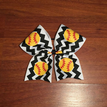 NEW!! 3 INCH - Black and White Chevron with Glitter Softball Bow
