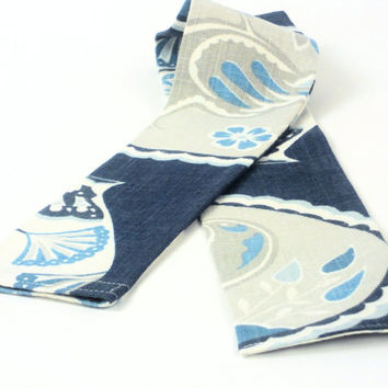 Draft Guard,  Breeze Blocker.  Draft Stopper in China Blue/Grey/Cream, Draft Dodger by WhiteCross Designs in USA Made to Order