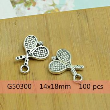 Family Friends party Board game DIY alloy charm pendant sports/football/basketball/tennis/golf/hockey/bowling shape antique silver jewelry accessories beads AT_41_3