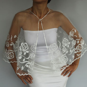 Silver Gilded Tulle Bridal Cape, Weddings Dress Capelet, Shrug. Handmade