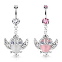 Cats Eye Winged Crystal Accented Owl Belly Ring
