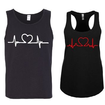BEATING HEARTS Couple Tank Tops + Your NAMES on the back or another text