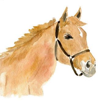 Ginger horse, original watercolor painting, ranch, farm, Equestrian, for men, nursery decor, country, animal art