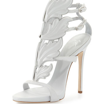 Coline Shooting Flame Suede High-Heel Sandal, White