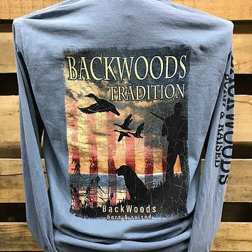 Backwoods Traditions Duck Hunt Dog USA Flag Bright Comfort Colors Long Sleeves Unisex T Shirt
