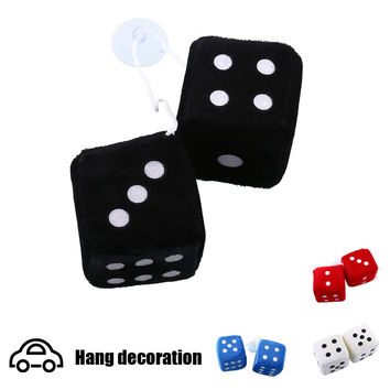 Pair Blue Fuzzy Plush Dice White Dots Rear Mirror Hangers Vintage Car Auto Accessories Car Decoration car styling