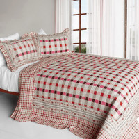 Moon Phase 3PC Cotton Contained Vermicelli Quilted Patchwork Quilt Set in Full/Queen Size