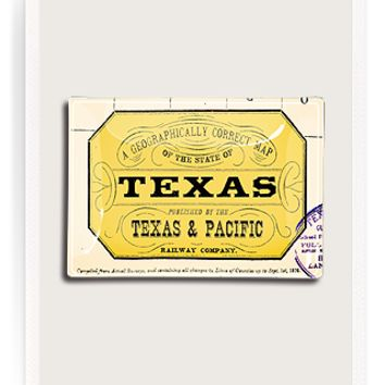 Vintage Texas Stamp Decoupage Glass Tray