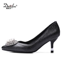 Daitifen 2018 Elegant Rhinestone High Heels crystal Sexy pointed toe Pumps Dress shoes Woman women glitter wedding party shoes