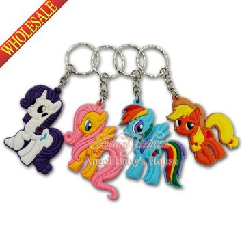 Hot 100pcs My little ponies PVC keychains Pendents Charms for Necklace Mobile Phone Bags Accessories party favor/gift