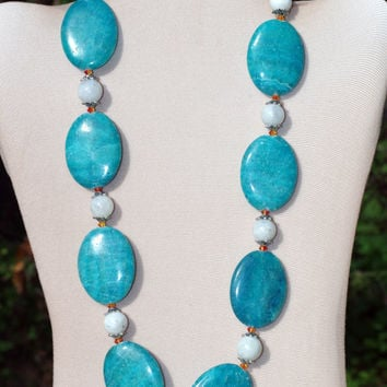 Chunky Bright Sky Blue Semiprecious Statement Necklace/ Formal Colorful Crazy Lace Agate Rainbow Moonstone Sparkling Swarovski Necklace