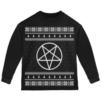 White Satanic Pentagram Ugly Christmas Sweater Black Toddler Long Sleeve T-Shirt