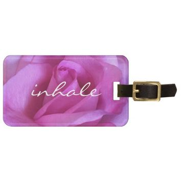 """Inhale"" bright purple pink rose photo luggage tag"