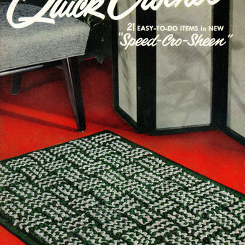 Quick Crochet Sewing Pattern Booklet 1950s DIY How To Instructions Hat Purse Rug Tablecloth Placemat Knitting