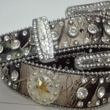 Western Camouflage star mexico brazil hot selling golden and silver conchos Leather Rhinestone clear Crystal Camo women Belt