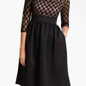 Black Patchwork Polka Dot Grenadine Backless 3/4 Sleeve High Waisted Party Midi Dress