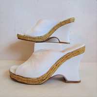 70s Charles Jourdan Slides Shoes Vintage Designer 1970s White Genuine Leather Mules with Rattan Wedge Heels 7