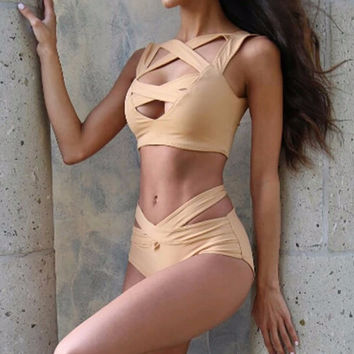 Beige Cut Out Bandage Bikini