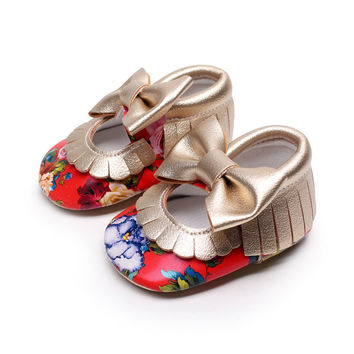 2016 Baby Shoes PU Leather Solid Floral Mary Janes Big Bow Baby Girl Princess Moccasins Soft Moccs First Walkers Shoes S2