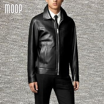 Black genuine leather jacket coat men lambskin business casual jackets chaqueta moto hombre veste cuir homme cappotto LT1321