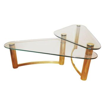 Pre-owned 1970s Tubular Brass & Glass Two-Tier Coffee Table