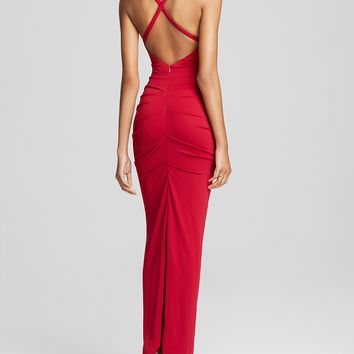 Nicole Miller High Neck Open Crisscross Back Jersey Gown - Bloomingdale's Exclusive