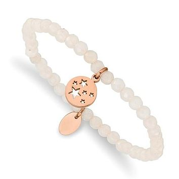 Stainless Steel Rose Gold Stars Charm 4.2mm White Jade Stretch Bracelet